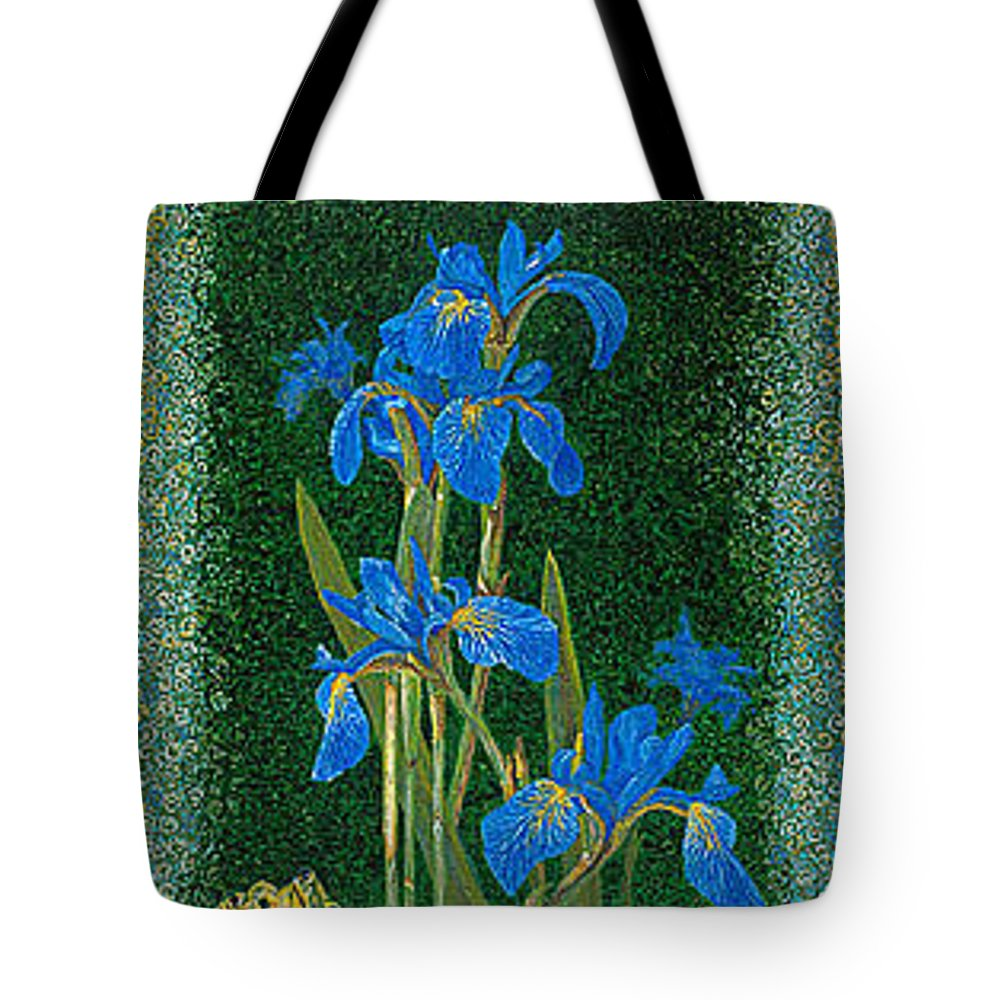 Irises Tote Bag featuring the painting Irises Blue Flowers Lucky Love Frog Friends Fine Art Print Giclee High Quality Exceptional Colors by Baslee Troutman