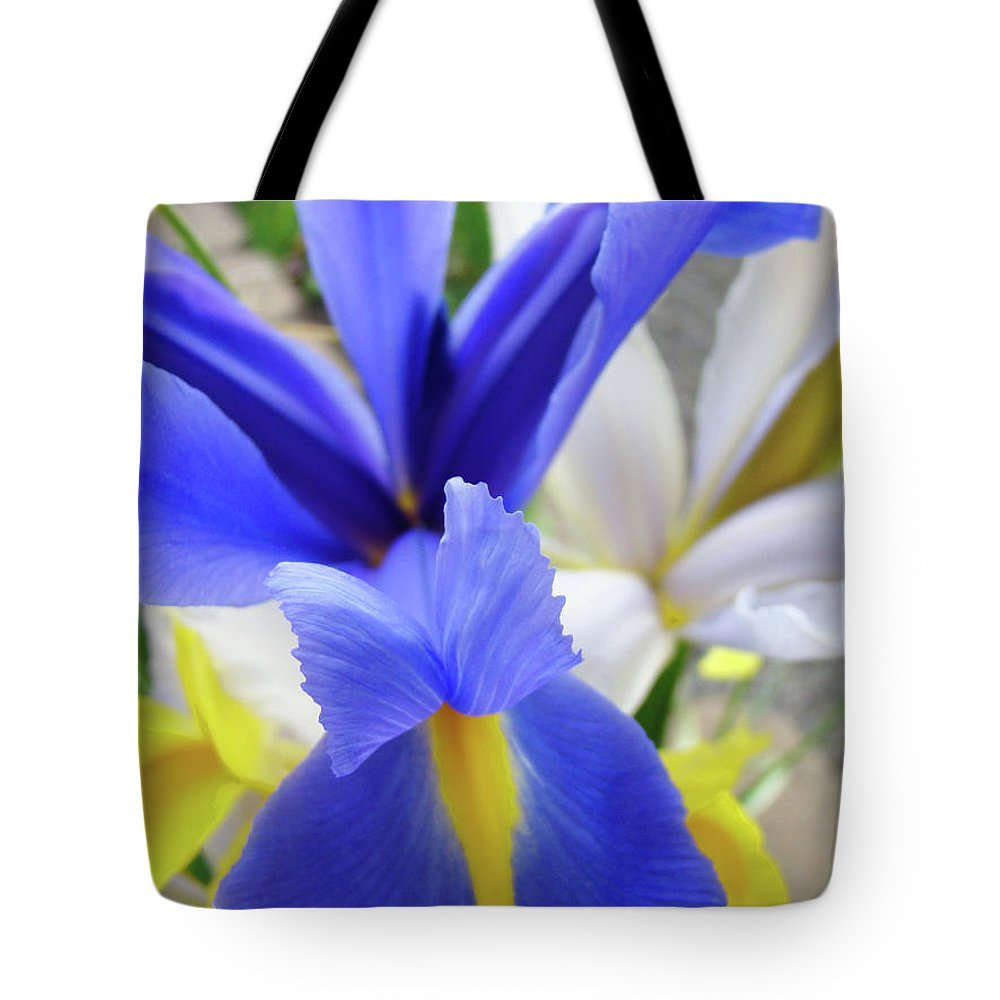 �irises Artwork� Tote Bag featuring the photograph Irises Flowers Artwork Blue Purple Iris Flowers 1 Botanical Floral Garden Baslee Troutman by Baslee Troutman