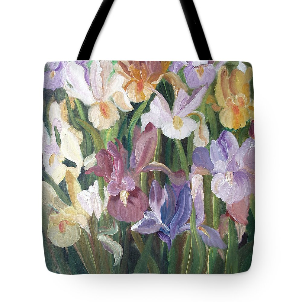 Irises Tote Bag featuring the painting Irises by Gina De Gorna