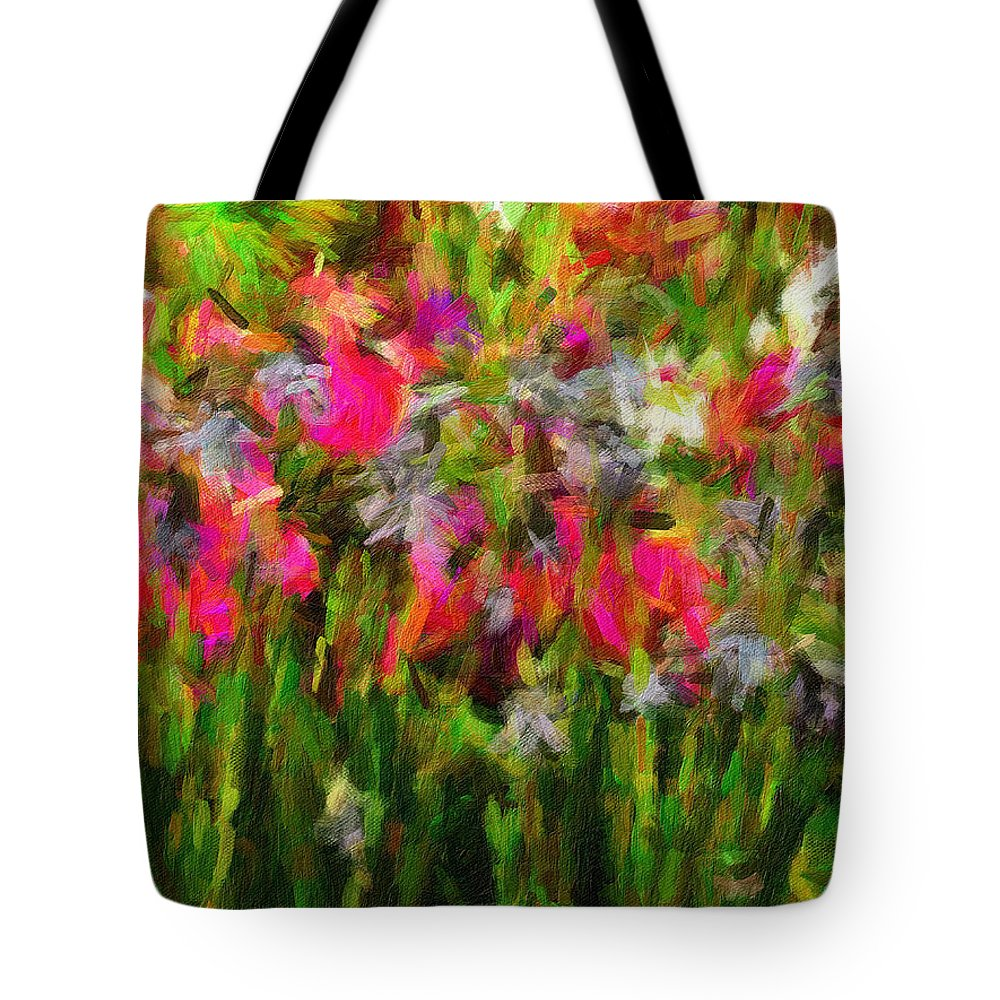 Irises Tote Bag featuring the digital art Irises by Sarah West