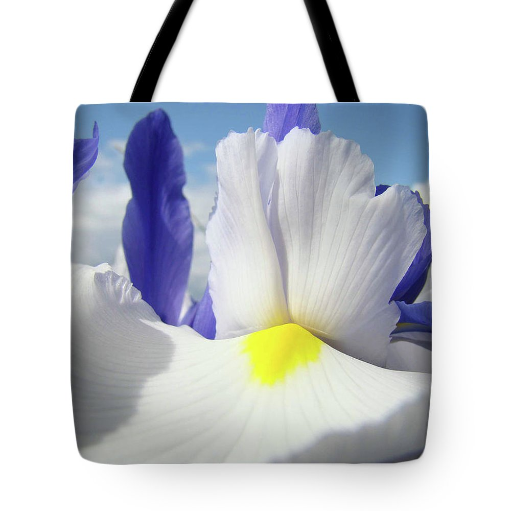 �irises Artwork� Tote Bag featuring the photograph Irises White Iris Flowers 15 Purple Irises Art Prints Floral Artwork by Baslee Troutman