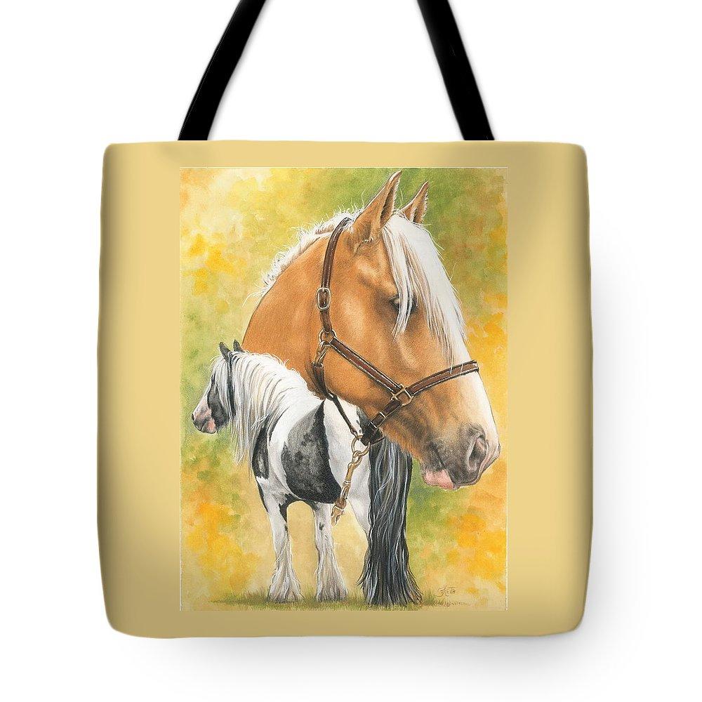 Draft Horse Tote Bag featuring the mixed media Irish Cob by Barbara Keith