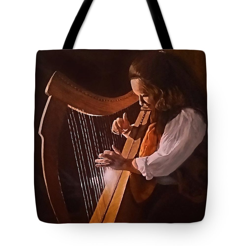 Acrylic Tote Bag featuring the painting Irish Harp by Sheryl Gallant