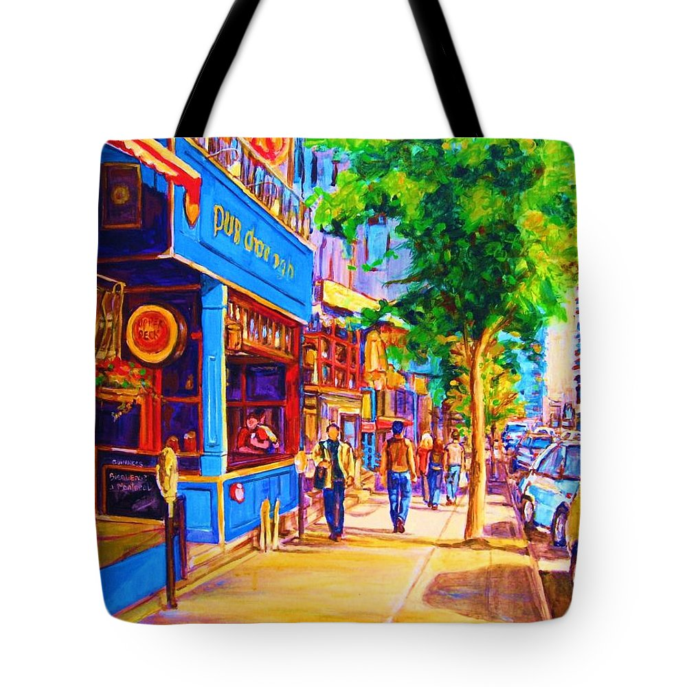 Irish Pub On Crescent Street Montreal Street Scenes Tote Bag featuring the painting Irish Pub On Crescent Street by Carole Spandau