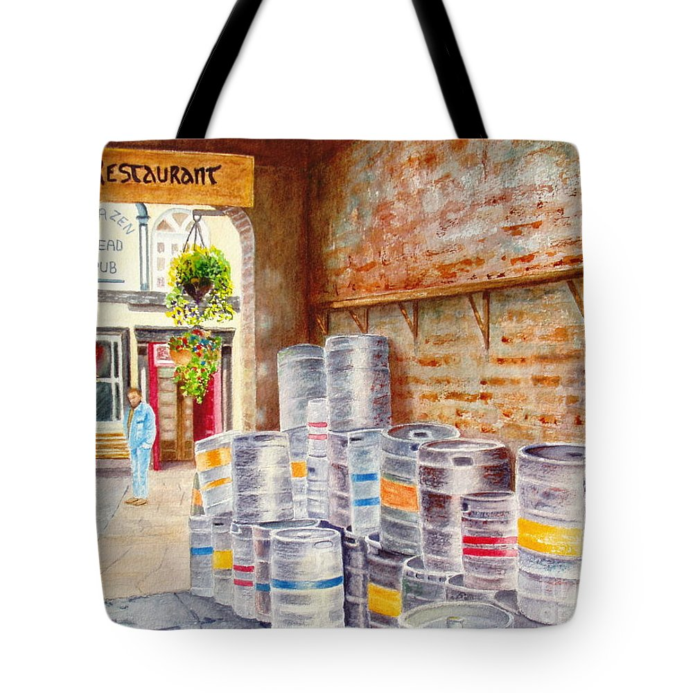 Kegs Tote Bag featuring the painting Irish Suds by Karen Fleschler