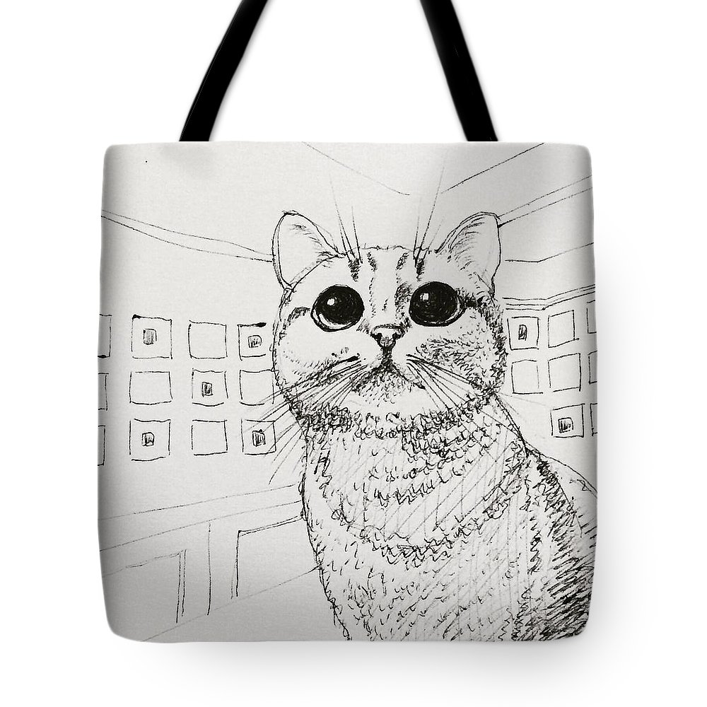 Cat Tote Bag featuring the drawing Irma by Pookie Pet Portraits