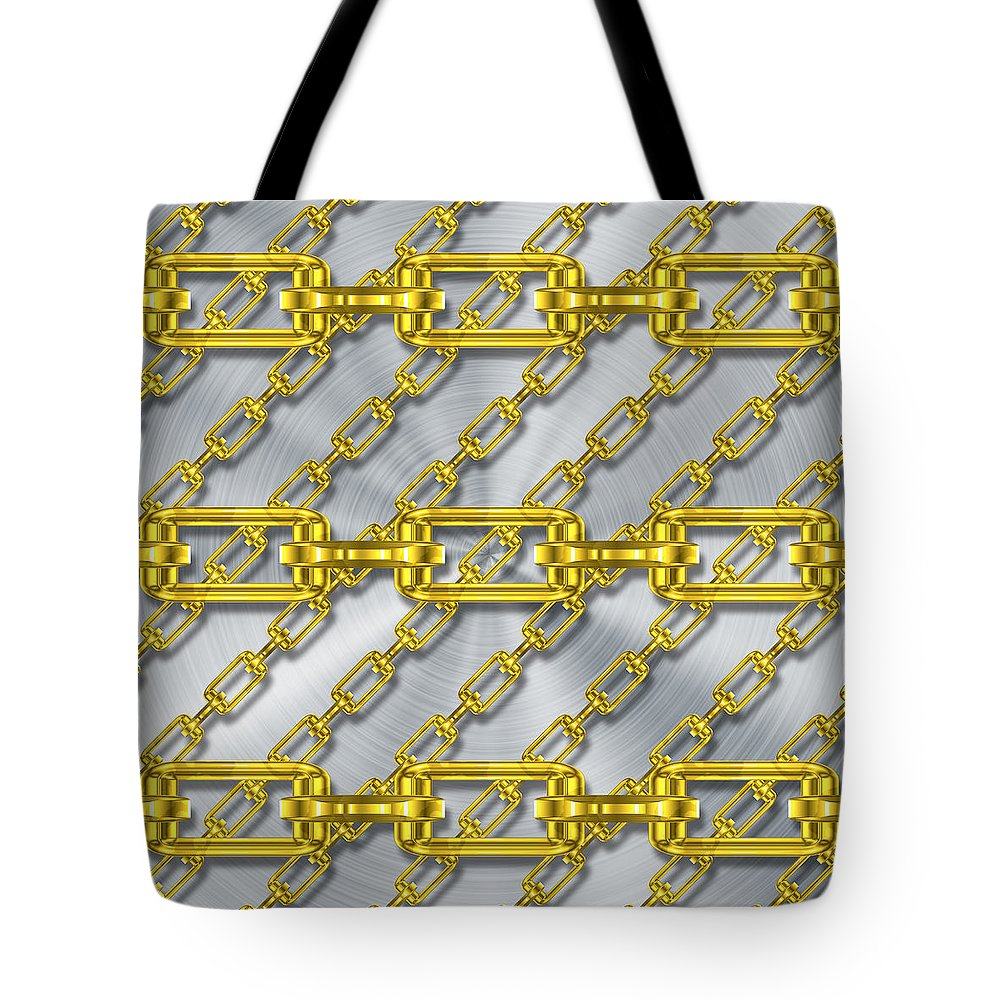 Metal Tote Bag featuring the digital art Iron Chains With Brushed Metal Texture by Miroslav Nemecek
