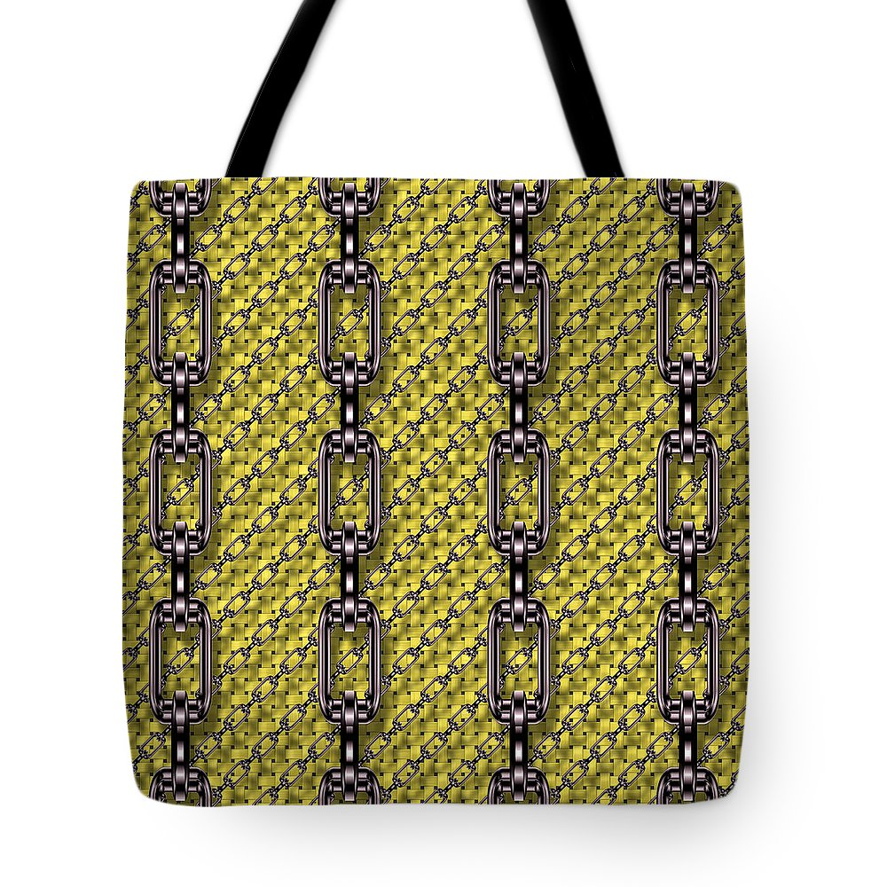 Seamless Tote Bag featuring the digital art Iron Chains With Knit Seamless Texture by Miroslav Nemecek