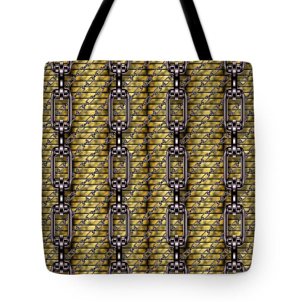 Seamless Tote Bag featuring the digital art Iron Chains With Money Seamless Texture by Miroslav Nemecek