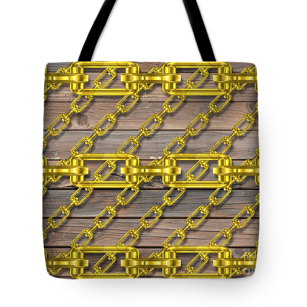 Metal Tote Bag featuring the digital art Iron Chains With Wood Texture by Miroslav Nemecek