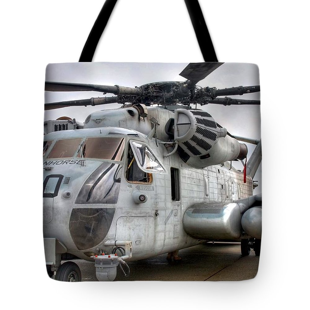 Helicopter Tote Bag featuring the photograph Ironhorse by Mitch Cat