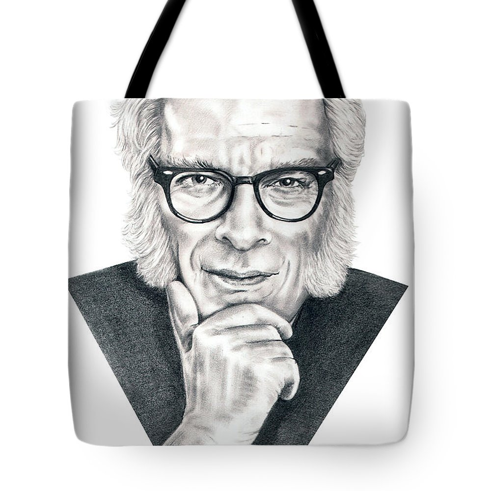 Portrait Tote Bag featuring the drawing Isaac Asimov by Murphy Elliott