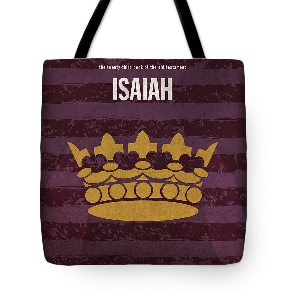 Isaiah Tote Bag featuring the mixed media Isaiah Books Of The Bible Series Old Testament Minimal Poster Art Number 23 by Design Turnpike