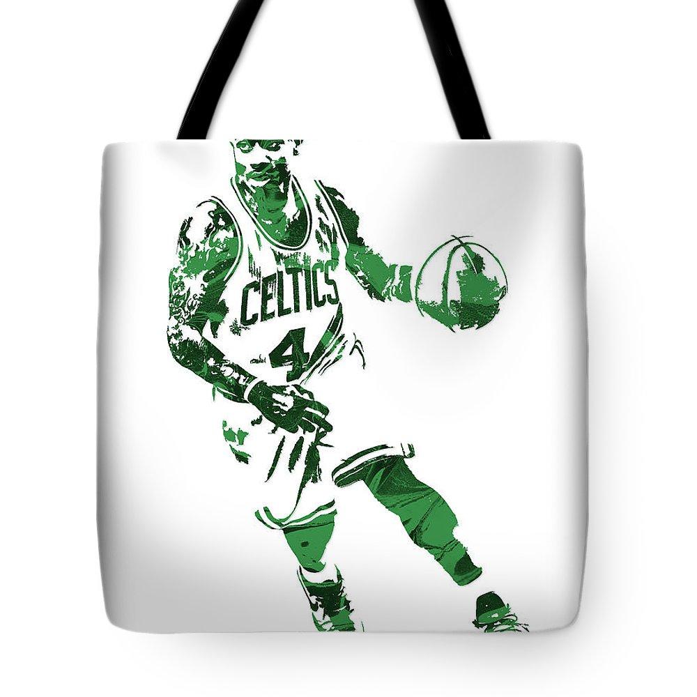 Isaiah Thomas Tote Bag featuring the mixed media Isaiah Thomas Boston Celtics Pixel Art 6 by Joe Hamilton