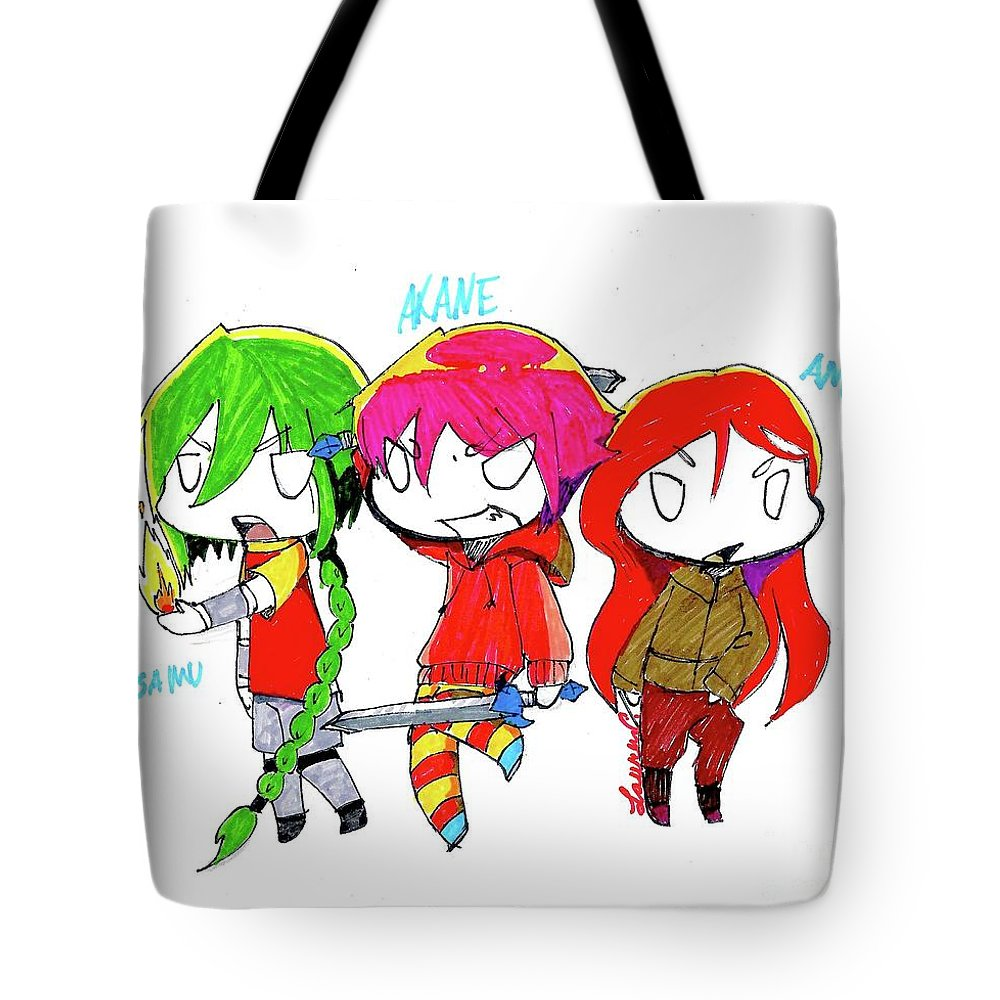 Manga Tote Bag featuring the drawing Isamu, Akane, And Amanda by Lauren Champion