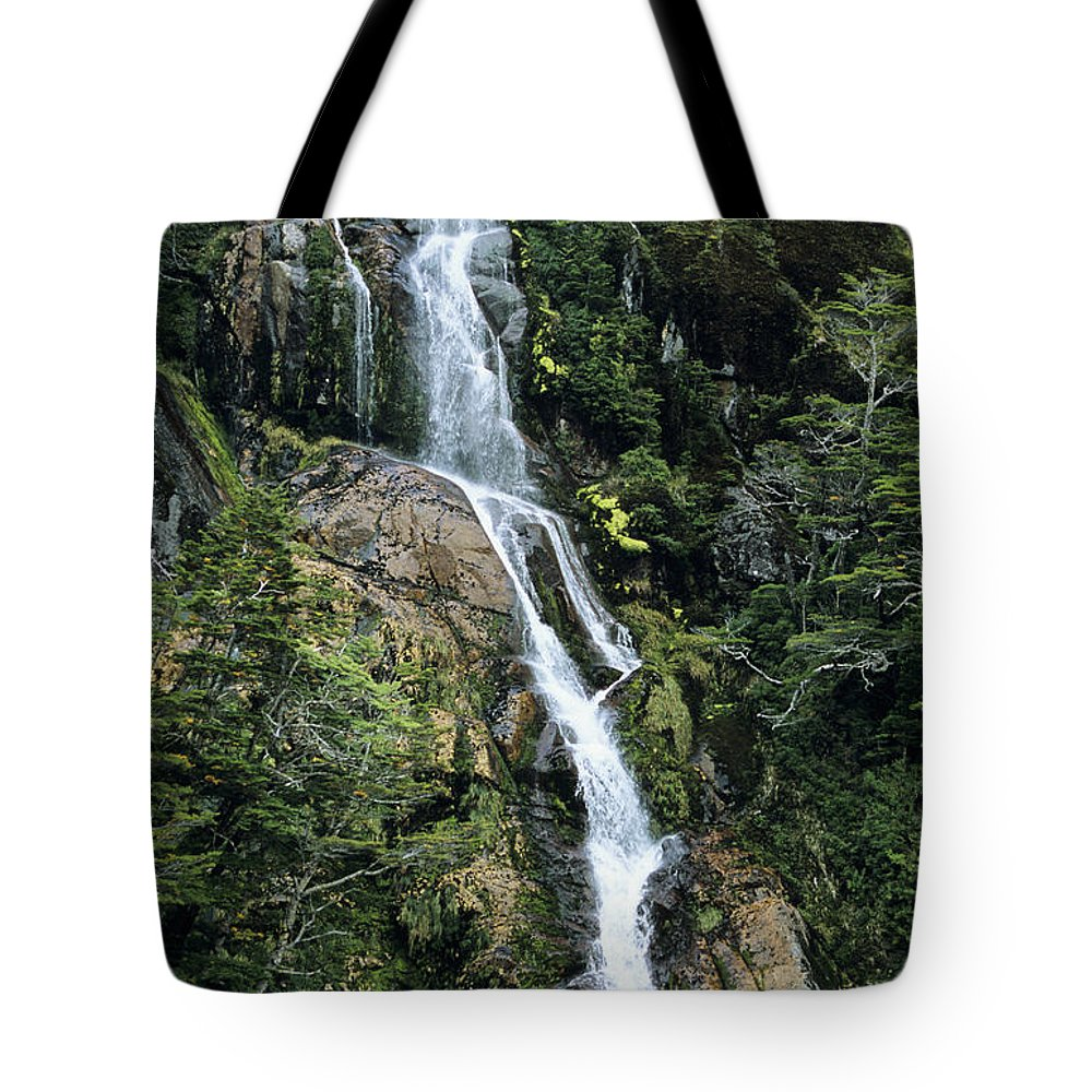 Beagle Channel Tote Bag featuring the photograph Isla Hoste Waterfall by Larry Dale Gordon - Printscapes