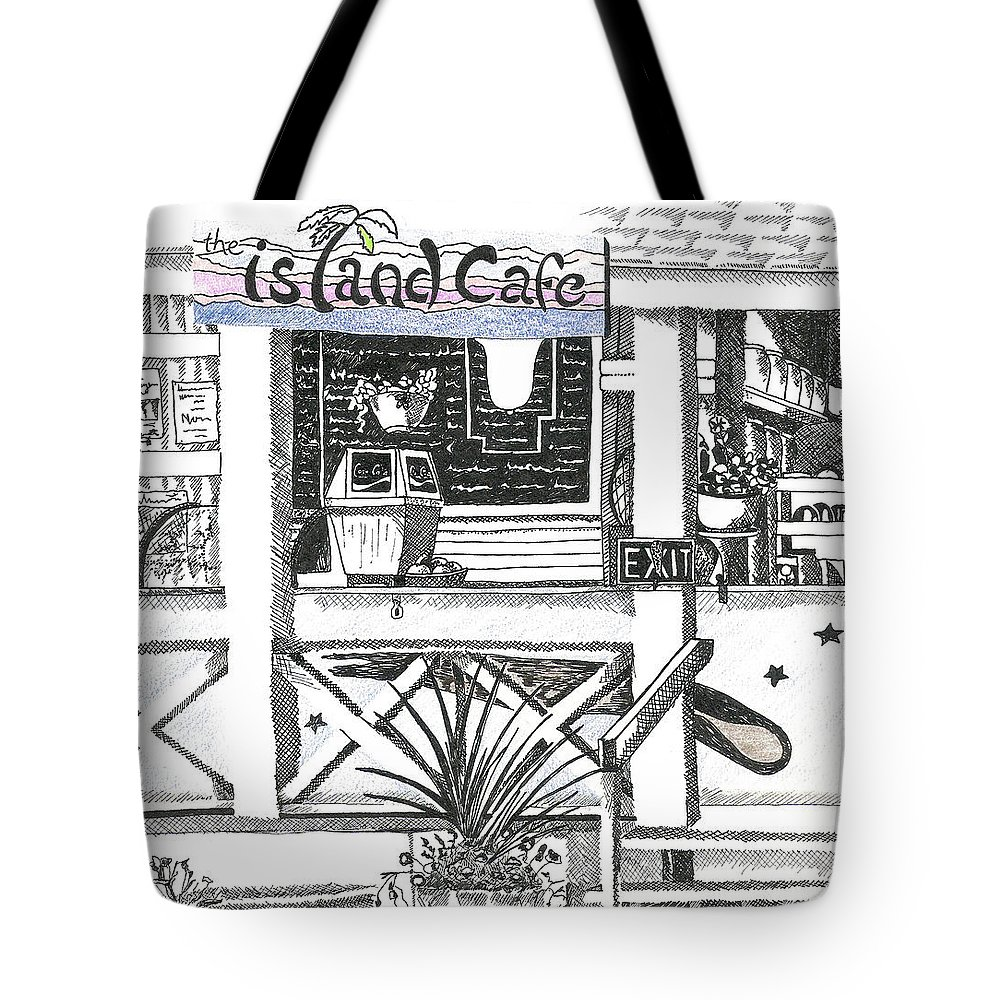 Island Tote Bag featuring the drawing Island Cafe by Lory MacDonald