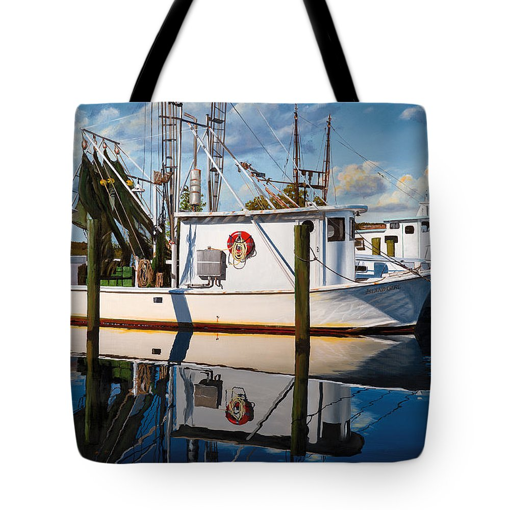 Shrimp Boat Tote Bag featuring the painting Island Girl by Rick McKinney