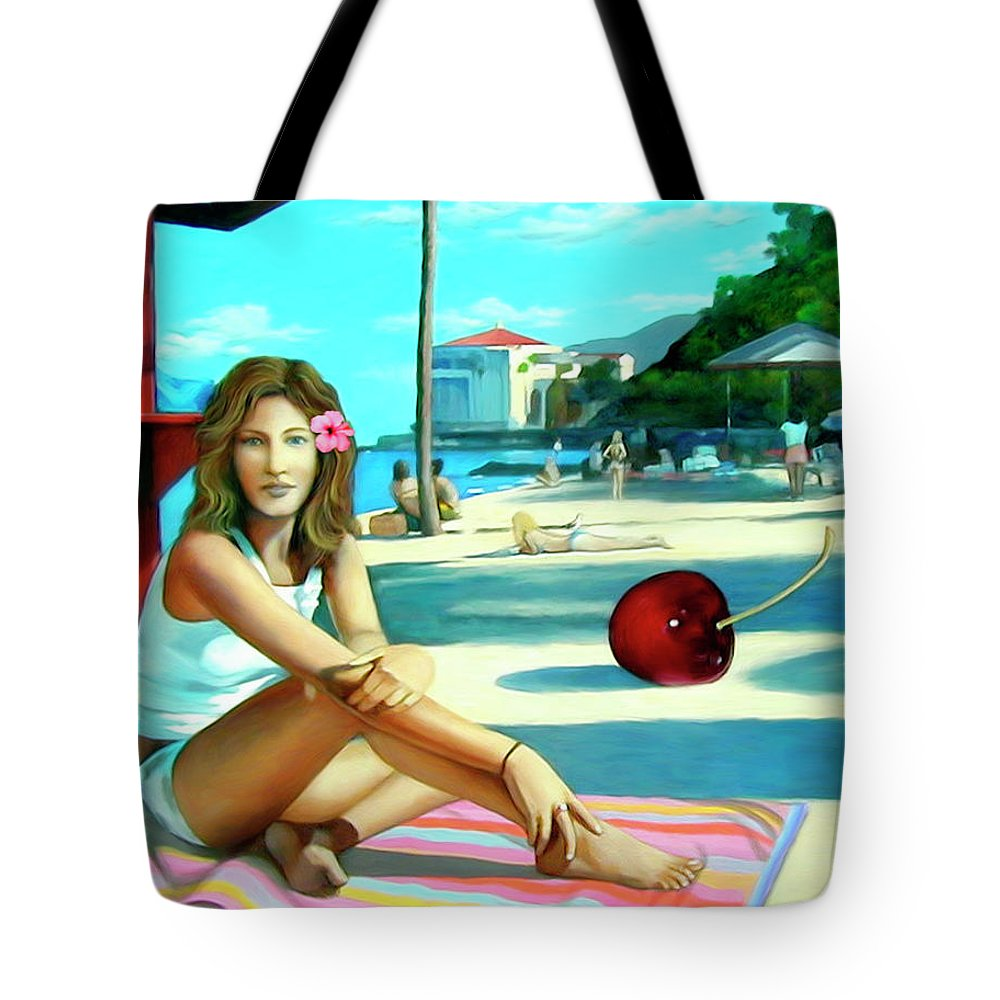 Island Tote Bag featuring the painting Island Girl by Snake Jagger