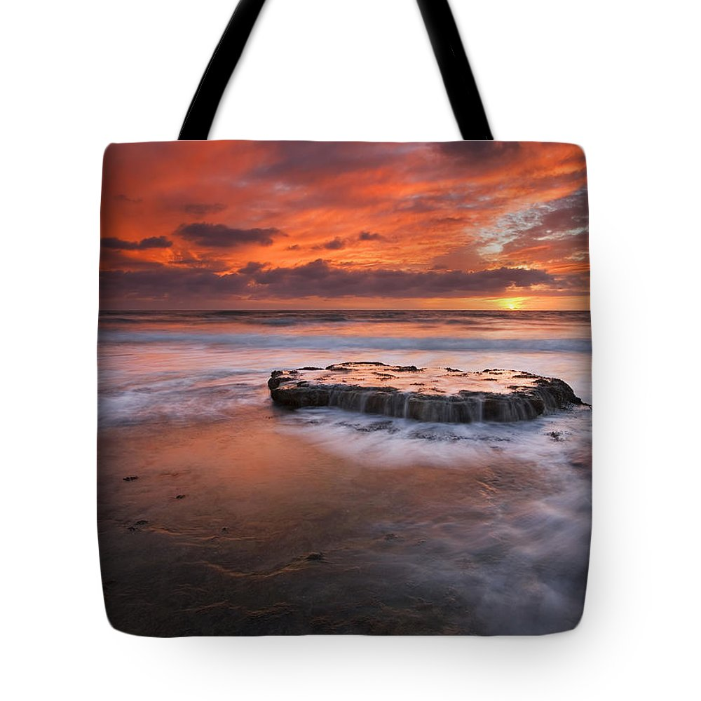 Island Tote Bag featuring the photograph Island In The Storm by Mike Dawson