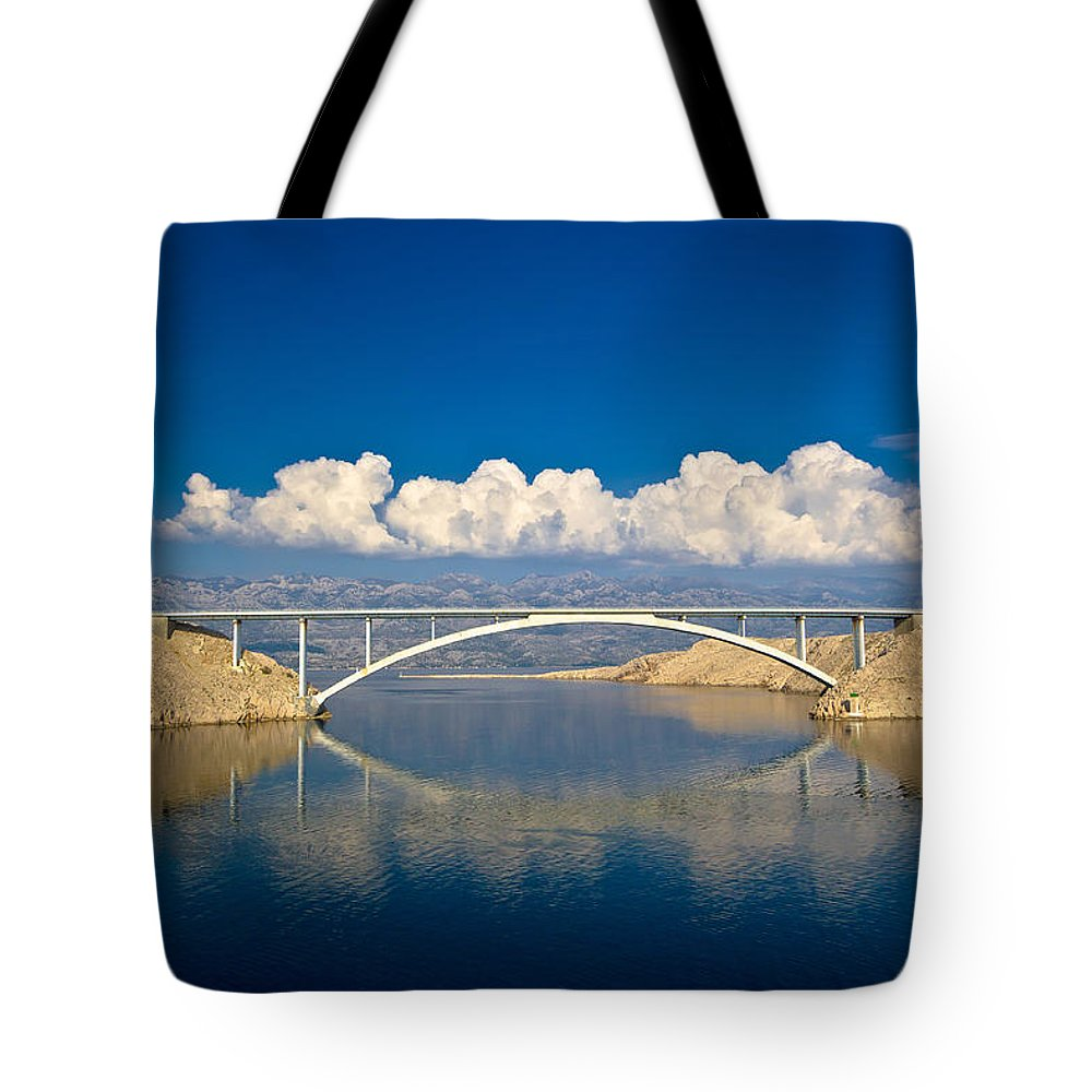 Blue Tote Bag featuring the photograph Island Of Pag Bridge And Velebit Mountain by Brch Photography