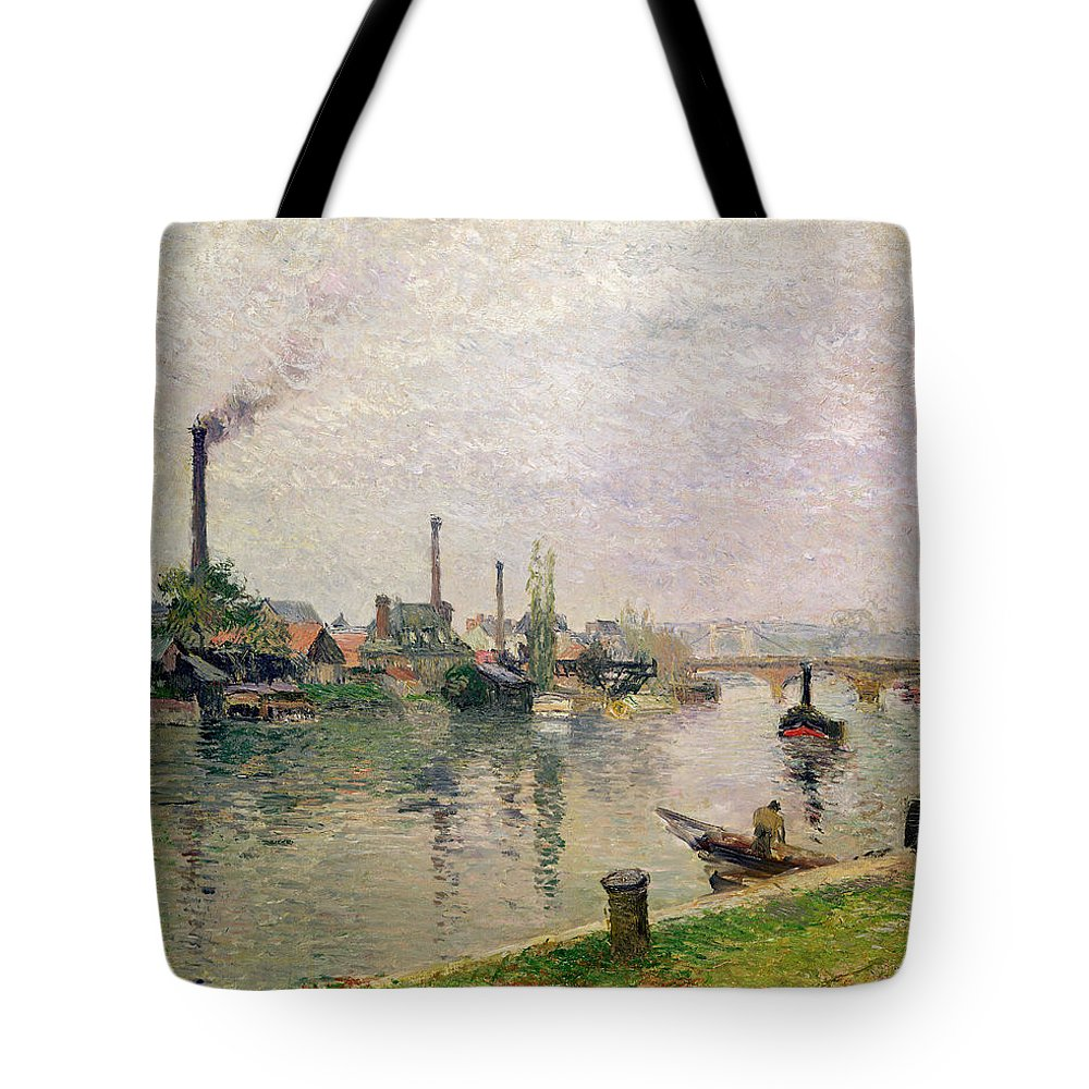 Ile Tote Bag featuring the painting Island Of The Cross At Rouen by Camille Pissarro