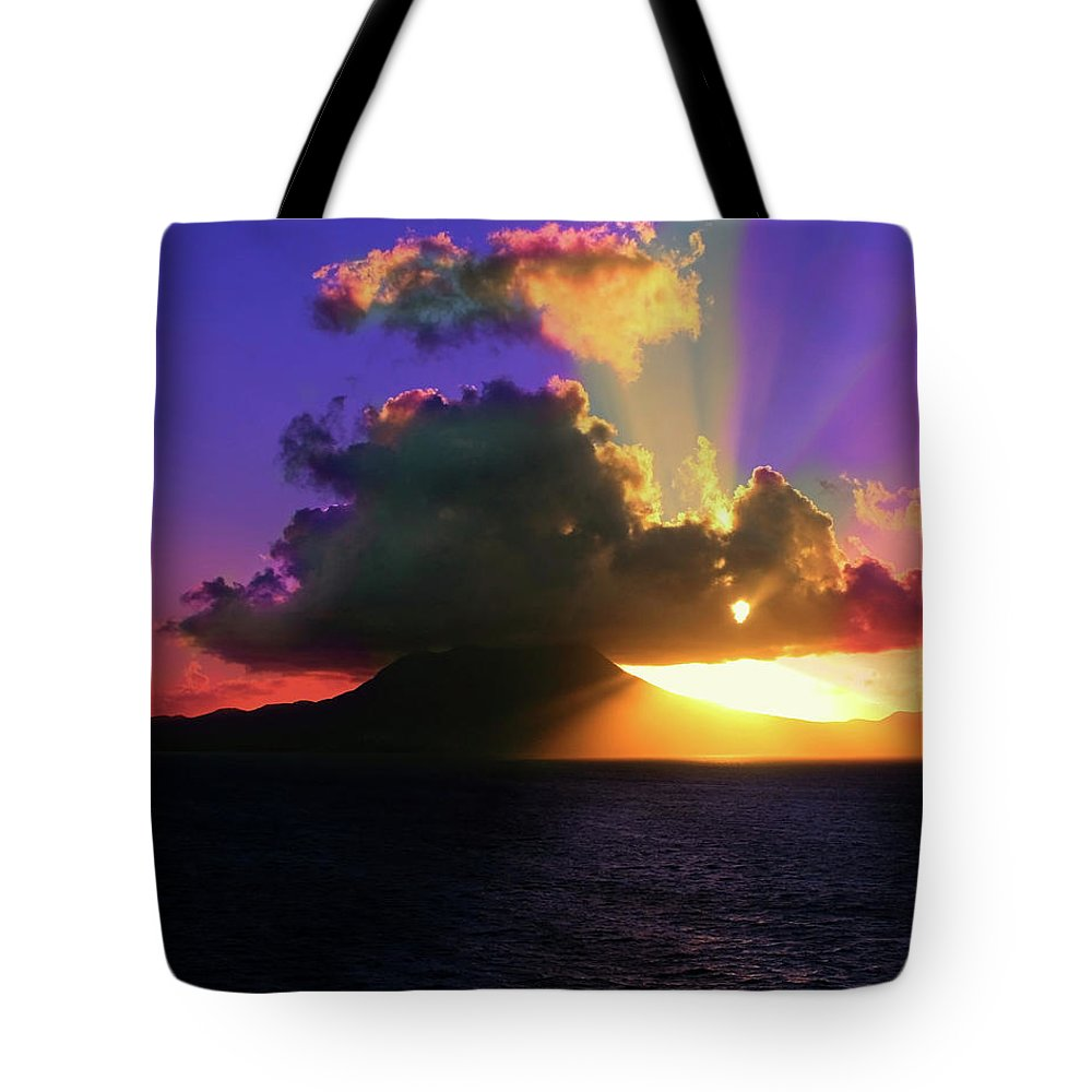 Island Tote Bag featuring the photograph Island Sunrise by Perry Webster