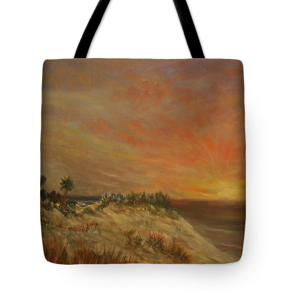 Sunset;beach;ocean;palm Trees Tote Bag featuring the painting Island Sunset by Ben Kiger