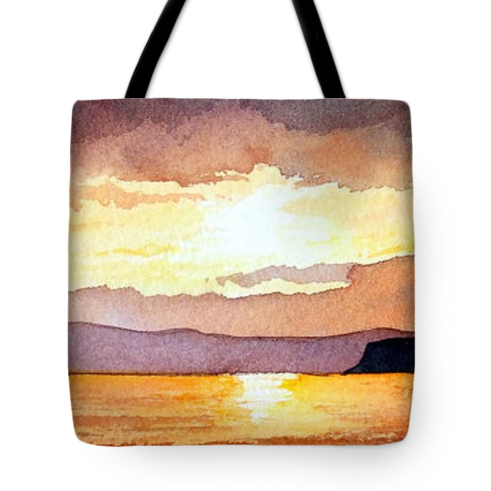 Seascape Tote Bag featuring the painting Islay And Cara From Kintyre Scotland by Paul Dene Marlor