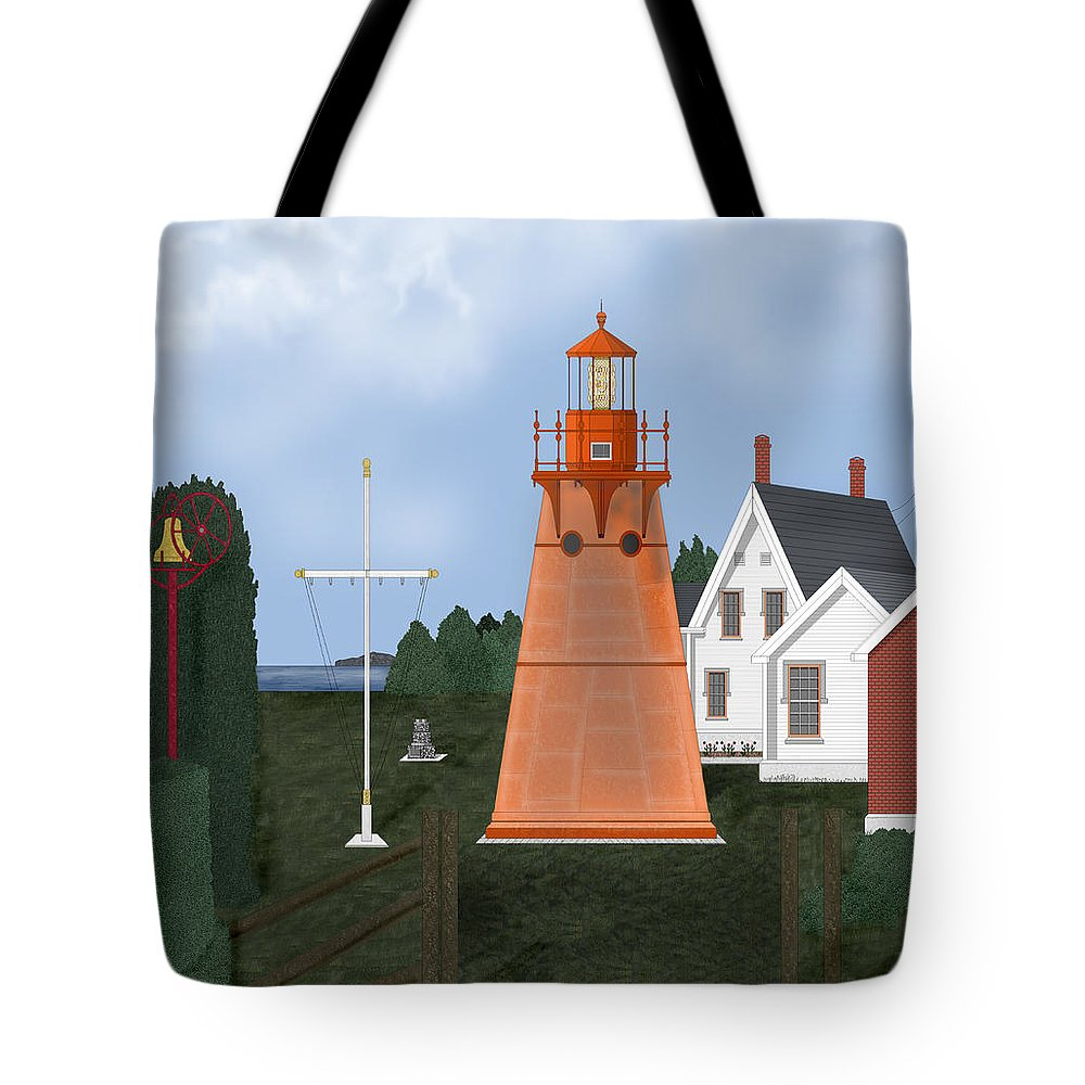 Lighthouse Tote Bag featuring the painting Isle La Motte Vermont Lighthouse by Anne Norskog