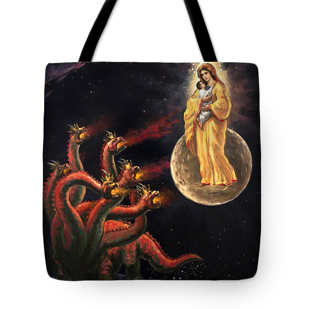 df761d16f7 Dragon Tote Bag featuring the painting Israel Jesus And Woman V Seven  Headed Dragon Revelation 12