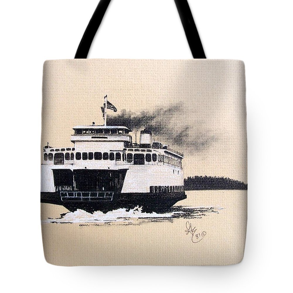 Ferry Tote Bag featuring the pastel Issaquah by Gale Cochran-Smith