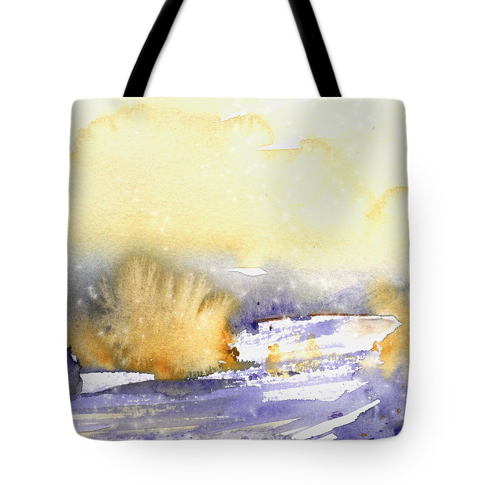 Watercolour Tote Bag featuring the painting It Is Always Snowing Somewhere 02 by Miki De Goodaboom
