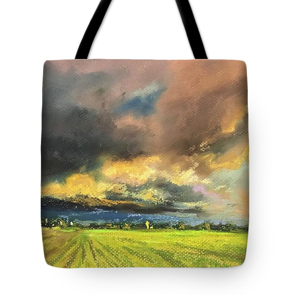 Pastel Tote Bag featuring the pastel It Is Coming by Vlad Duchev