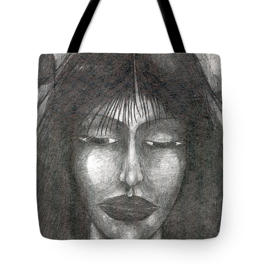 Psychedelic Tote Bag featuring the drawing It Will Be So by Wojtek Kowalski