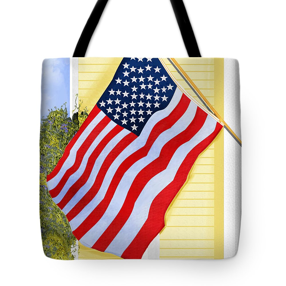 U.s. Flag Tote Bag featuring the painting It Will Fly Until They All Come Home by Anne Norskog