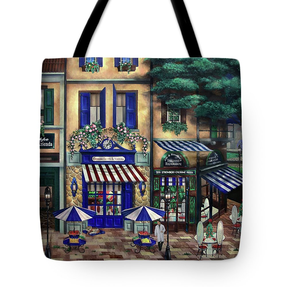 Italian Tote Bag featuring the mixed media Italian Cafe by Curtiss Shaffer