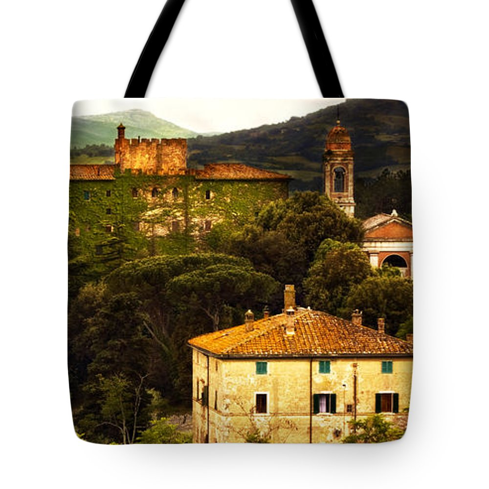 Italy Tote Bag featuring the photograph Italian Castle And Landscape by Marilyn Hunt