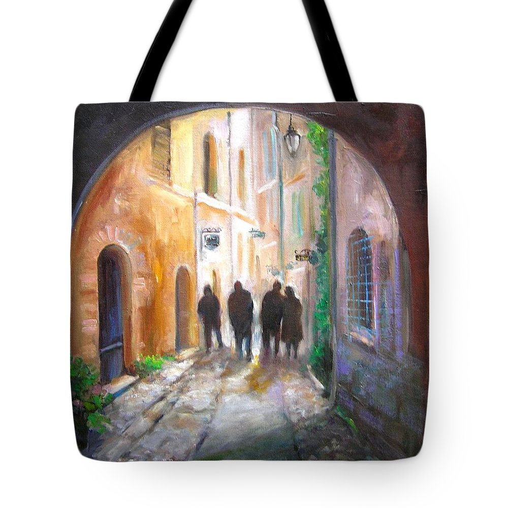 Italian Tote Bag featuring the painting Italian Street Scene by Barbara Couse Wilson