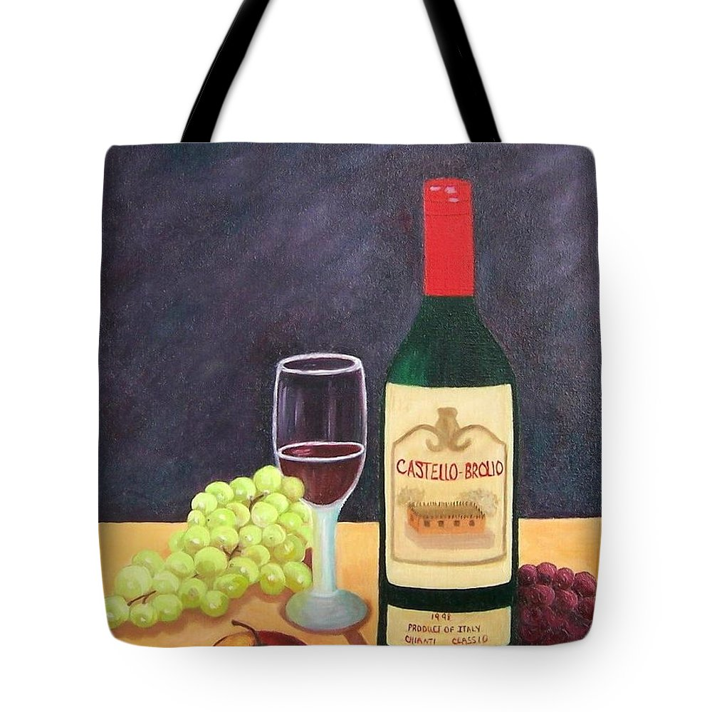 Still Life Tote Bag featuring the painting Italian Wine And Fruit by Ruth Housley