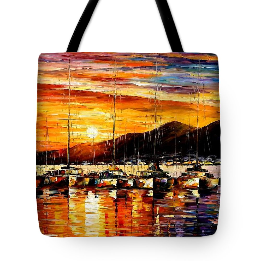 Afremov Tote Bag featuring the painting Italy - Naples Harbor- Vesuvius by Leonid Afremov