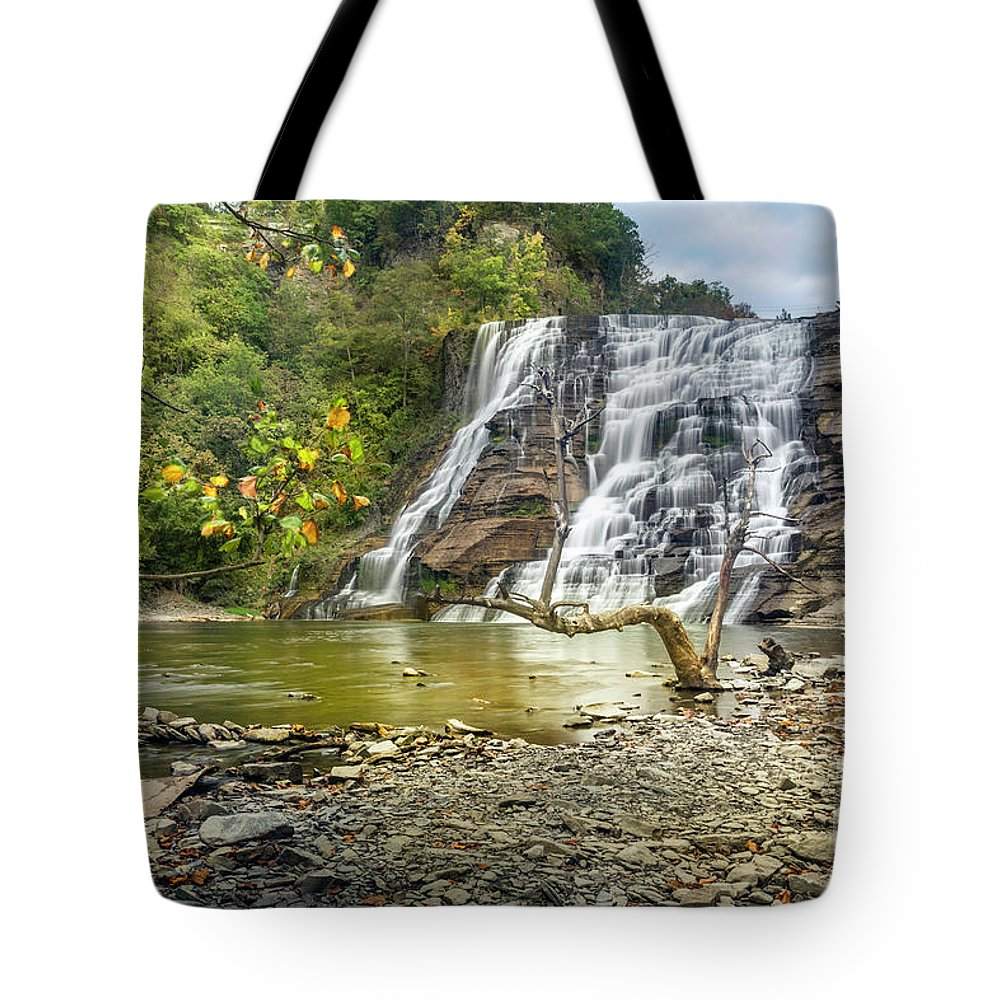 New York Tote Bag featuring the photograph Ithaca Falls In Early Autumn by Karen Jorstad
