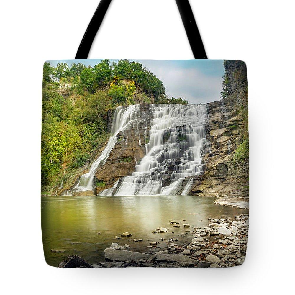 New York Tote Bag featuring the photograph Ithaca Falls by Karen Jorstad