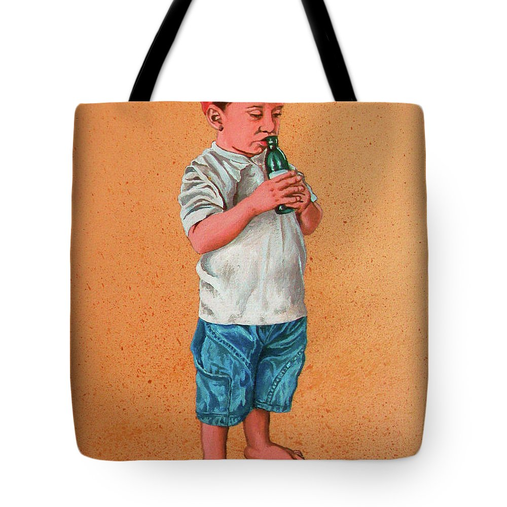 Summer Tote Bag featuring the painting It's A Hot Day - Es Un Dia Caliente by Rezzan Erguvan-Onal