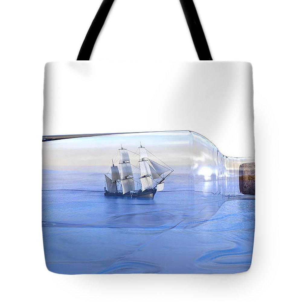 Bottle Tote Bag featuring the digital art It's A Small World Afterall by Betsy Knapp