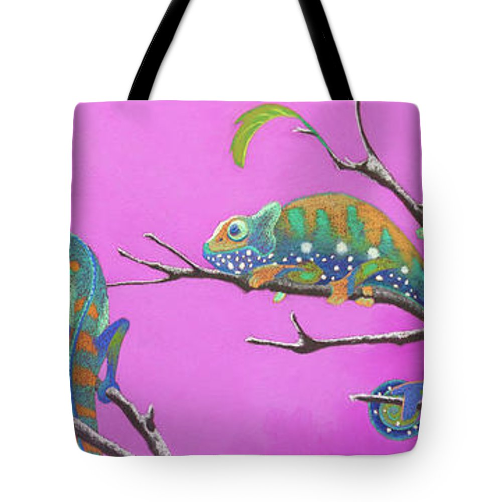Chameleon Tote Bag featuring the pastel Its All Just An Illusion by Tracy L Teeter
