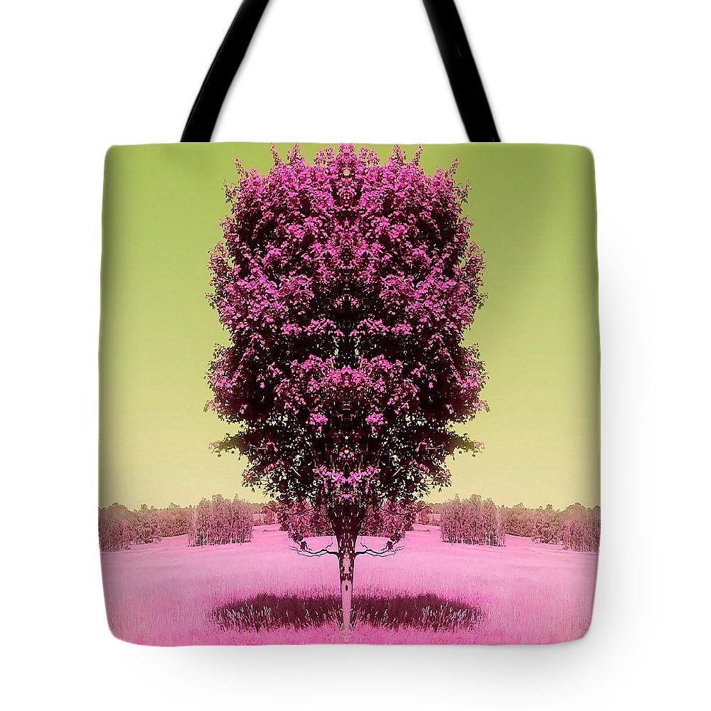 Tree Tote Bag featuring the mixed media Its In The Tree by Carrie Armstrong