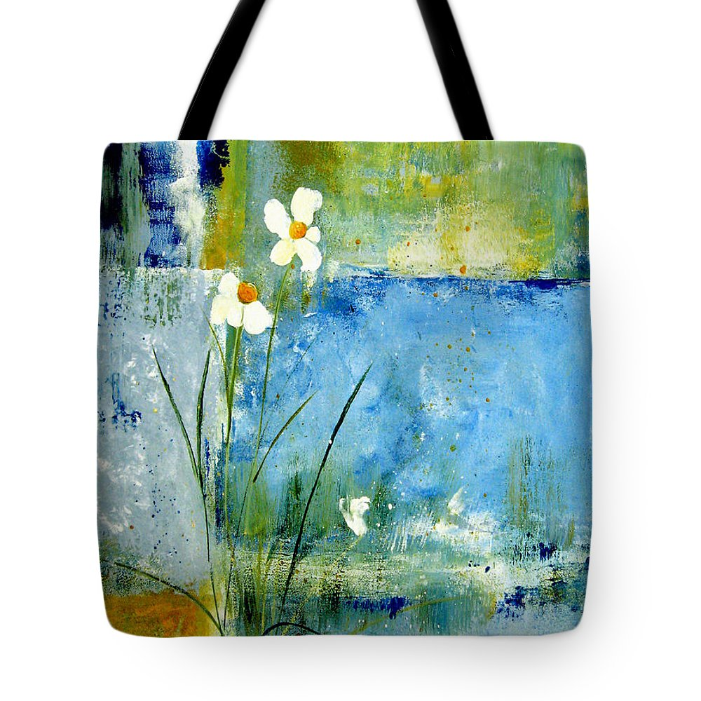 Abstract Tote Bag featuring the painting It's Just You And Me by Ruth Palmer