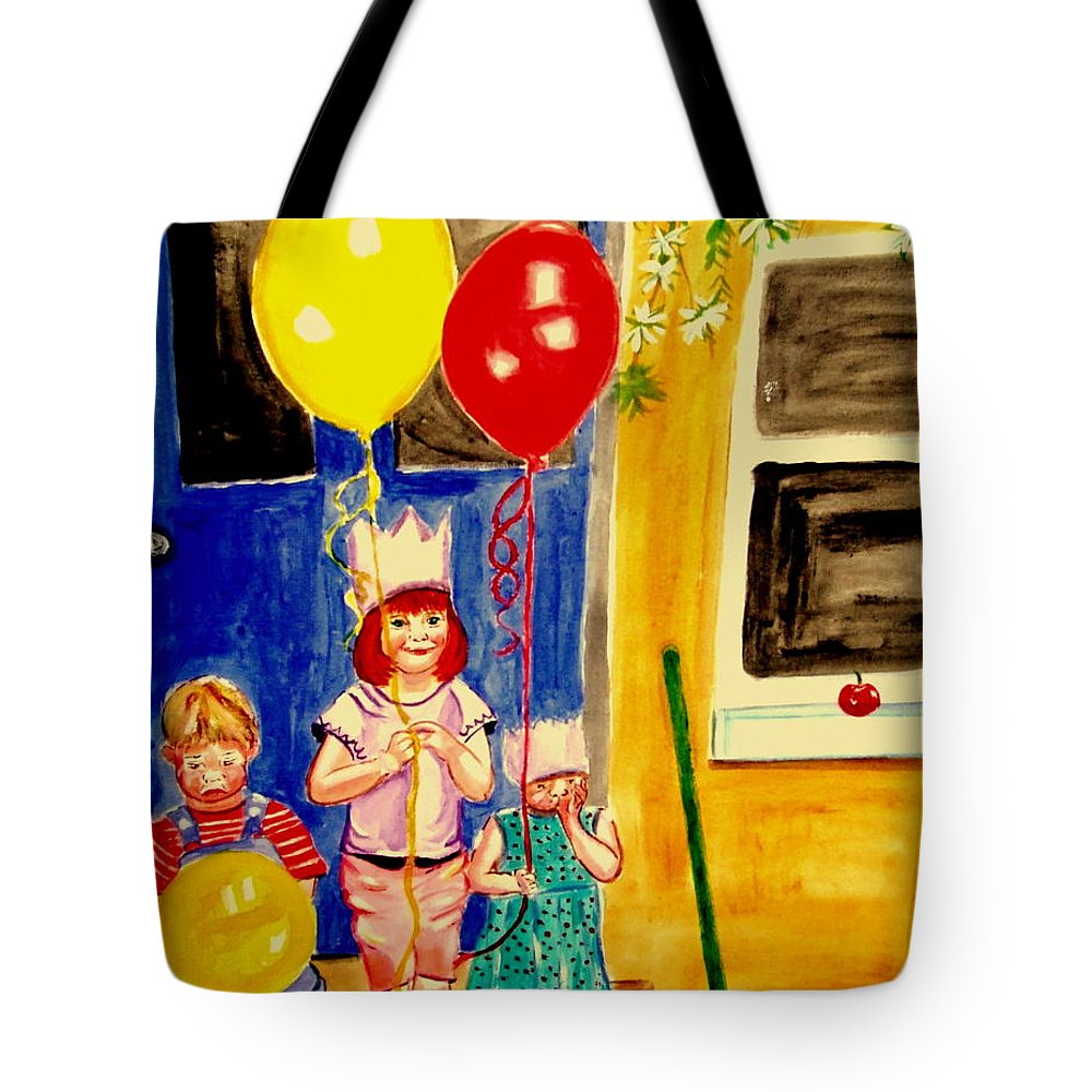 Childhood Tote Bag featuring the painting Its My Party by Rusty Gladdish
