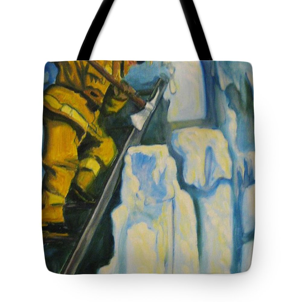 Firefighters Tote Bag featuring the painting Its Not Over Till Its Over by John Malone